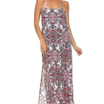 Women's Printed Open Back Chiffon Maxi Dress