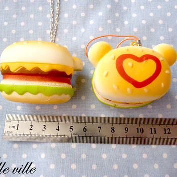 Rilakkuma burger phone strap or necklace squishy by violleville