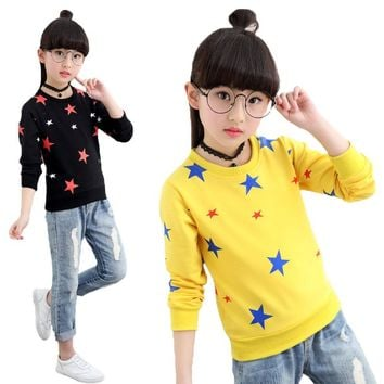 Girls Star Tops Spring Autumn Long Sleeve T-shirts For Teenagers Girl Kids Sweatshirt Teen Clothing Children Clothes