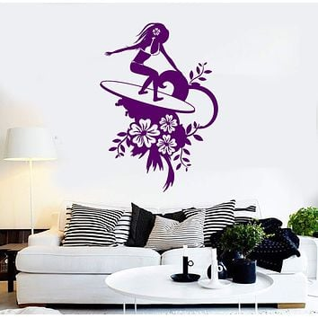 Vinyl Wall Decal Surfing Surfer Sexy Girl Water Sports Flowers Stickers Unique Gift (1002ig)