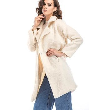 Ladies Wool Coat Women Casual Long Parka Warm Wool Comfortable Women Long Coat