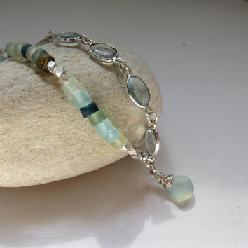 Ancient Roman Glass, Sky Blue Topaz, Aqua Chalcedony Sterling Silver Artisan Made Anklet
