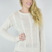 Fancy Knit Sweater With Lace