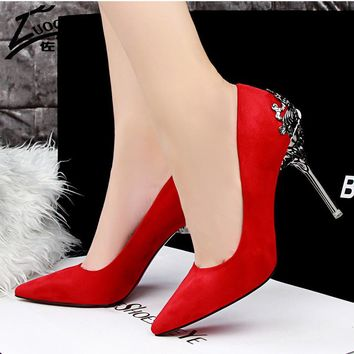 Sexy Women Pumps Red Bottom High Heels Suede Leather High Heel Ladies