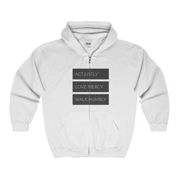 """""""Micah Six Eight"""" Full Zip Unisex Hoodie / Letters On The Front (Multiple Colors)"""