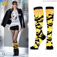 "100% COTTON KNEE HIGH SOCKS ""BATS"" - New Women's Cute Cool Trendy Fashion Yellow Black Batman Spider Cartoon Animal Long Socks (Size: One Size, Color: Yellow & Black)"
