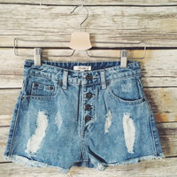 Christine Distressed High Waisted Shorts (Light Wash)