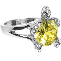 Citrine Gem Glamour Turtle Adjustable Ring