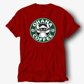 Ohana Stitch Coffee shirt, Hot product on USA, Funny Shirt, Colour Black White Gray Blue Red