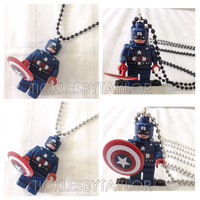 Captain America AVENGERS BOGO Buy 1 Get 1 Promo! Lego®  Necklace, Lego Superhero Necklace, FREE Lego® Minifigure Necklace Party Favors Gift