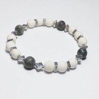 Chalk Turquoise Bracelet with Gray Marble and Silver-Plated Beads