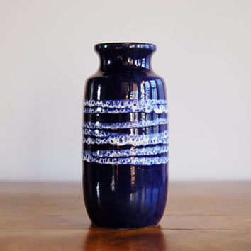 West German Blue Vase, Mid Century Scheurich Keramik Cobalt Blue Fat Lava Pottery Vase, 213-20, Modernist Blue with White Stripes