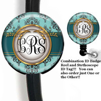 Regal Blues Stethoscope ID Tag And ID Badge Holder Retractable Reel Monogram