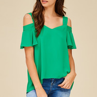 Green with Envy Cold Shoulder Top