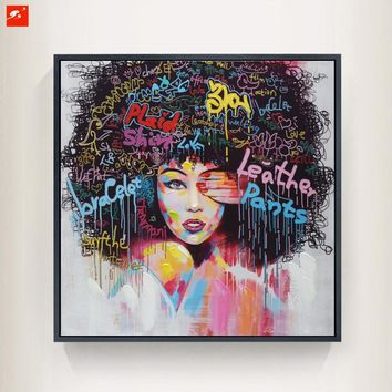 New 2 Pieces Graffti Street Wall Art Abstract Modern Women Portrait Canvas Oil Painting Set Printed+Painted For Living Room