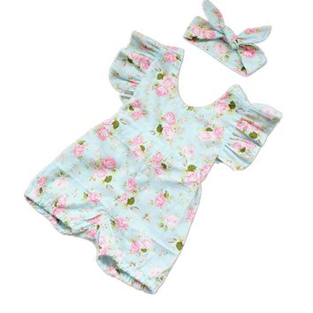 Princess Baby Girl Clothes Set Summer Lotus Flower Rompers Infant Flouncing Braces Jumpsuit & Headbands Toddler Girls Clothing