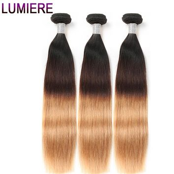 3 Tone Ombre Brazilian Straight Hair Weave Bundles Non Remy Human Hair Extensions
