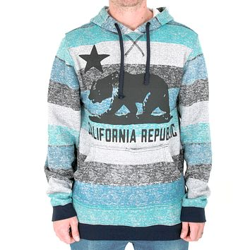California Republic Black Oversized Silhouette Striped Surfer Hoodie