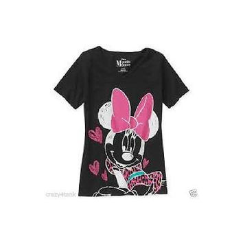 Disney Minnie Girls' Graphic Tee, Black, Size Xl (14-16)