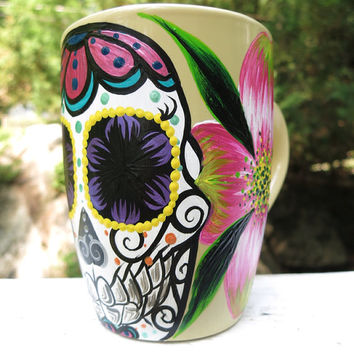 Hand painted sugar skull and dogwood mug