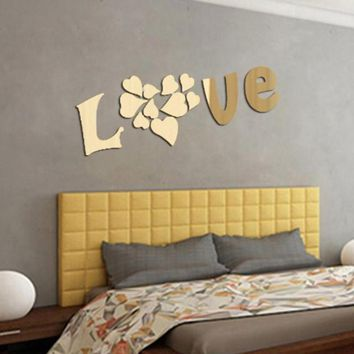 DIY LOVE 3D Wall Stickers Mirror Sticker Home Livingroom Decoration mirror wall stickers home decor living room