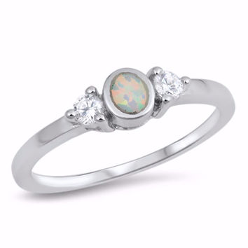 Sterling Silver CZ Lab White Opal Simulated Diamond Bezel Oval Center Ring