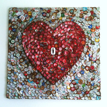 Bottle Cap Heart and Antique Key Mosaic Art by atheart3 on Etsy