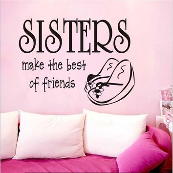 Sisters Make The Best Of Friends Home Decal Wall Sticker Shoes Pattern Girls Bedroom Dress Room Diy Vinyl Adhesive Sofa Wall Art