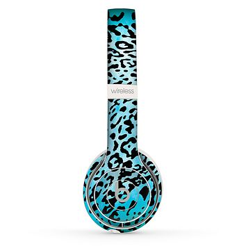 The Hot Teal Cheetah Animal Print Skin Set for the Beats by Dre Solo 2 Wireless Headphones