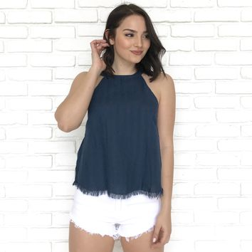 All American Linen Tank Top in Navy