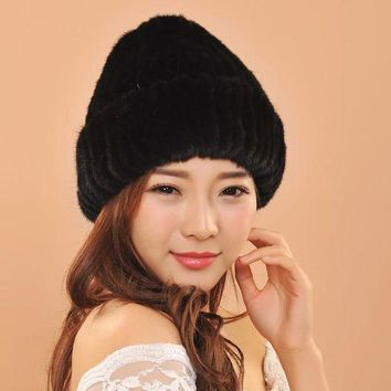 DCCKU62 New Women Warm Winter Caps For Ladies Knitted Beanies Mink Fur Balls Earflaps Hats For Girls