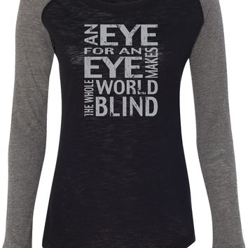 Womens Yoga T-shirt An Eye for an Eye Preppy Patch Elbow Tee
