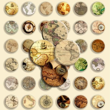 48 Circle Shape - Digital Collage Sheet -  Antique maps & compass - 1 inch - 25 mm