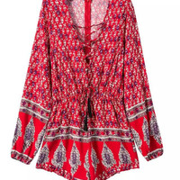 Women's Hobo Print Rompers [7279005639]