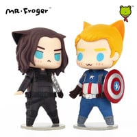 Mr.Froger Captain America Figures Pop Winter Soldier Action Figure Chibi Anime Super Heroes Toys Car Decoration Vinyl Doll Movie