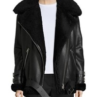 Acne Studios Velocite Shearling Fur-Lined Moto Jacket