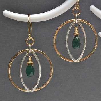 Green tourmaline hammered silver and gold earrings, tourmaline cat's eye hoop earrings, gold & silver earrings, October birthstone jewelry