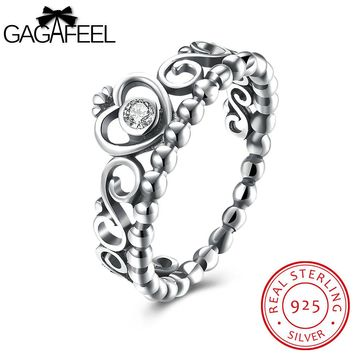 GAGAFEEL Authentic Sterling Silver Jewelry Rings For Women Zircon Elegant Queen Crown For Friend Lady Present Party Accessory