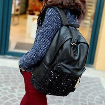 Fashion Women PU Backpack Sequined Shoulder School Bag Girl Black Bling bling Bag