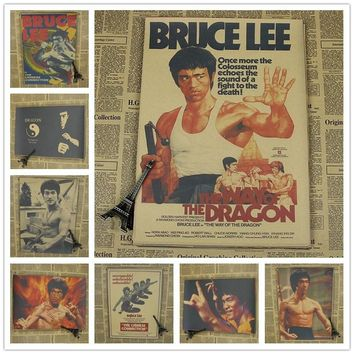 Vintage Classic Kung Fu Star Bruce Lee Series Movie Poster Retro Kraft Paper Bar Cafe Home Decor Painting Wall Sticker 42x30cm