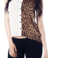 Sheer Two-Tone Cheetah Top - Cream from Casual & Day at Lucky 21 Lucky 21