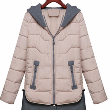 Long Sleeve Hooded Down Padded Jacket