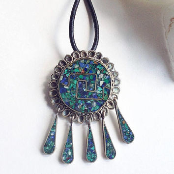 Turquoise Pendant,  Silver Crushed Turquoise Pendant , Turquoise Brooch, Vintage Turquoise  Necklace , Mexican Silver Concho Pendant,
