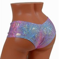 Pink & Blue Pastel Shattered Glass Ultra Cheeky Booty Shorts