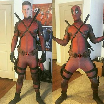 Newest Marvel christmas costume for men mask cosplay full body Deadpool Costume adult Spandex zentai digital print costume