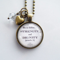 She is clothed in strength and dignity - Proverbs 31 Necklace - Gift For Mother - Christian Jewelry -  Scripture Pendant - Bible Verse