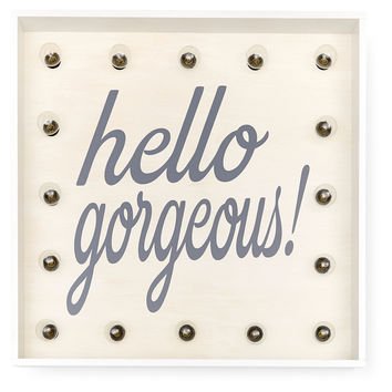 "Marquee Light-Up ""Hello Gorgeous"" Sign, Signs"