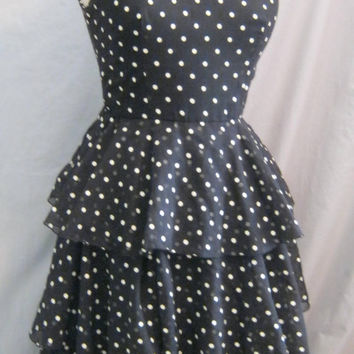 Super Cute! Vintage 80s POLKA DOT PROM Dress Dance Country Wedding Tiered Skirt