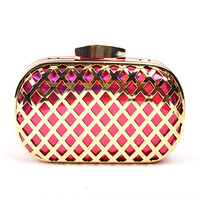 Celebrity Brand Designer Laser Cut Metallic Box Party Clutch Wedding Purse