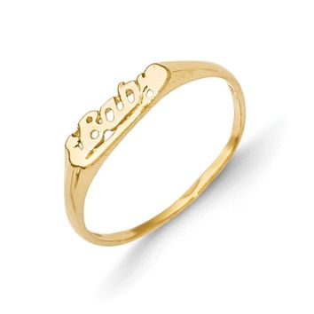 14kt Yellow Gold Cursive Girls Ring Size2-3